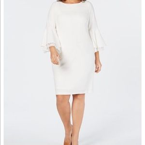 Calvin Klein Plus Sized Lace Bell Sleeve Dress